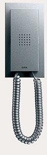 Квартирная станция Standard с телефонной трубкой Gira E2, цвет под алюминий.
