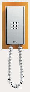 Квартирная станция Standard с телефонной трубкой Gira Event, цвет матовый янтарный/матовый белый.