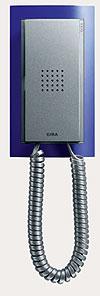 Квартирная станция Standard с телефонной трубкой Gira Event, цвет матовый синий/под алюминий