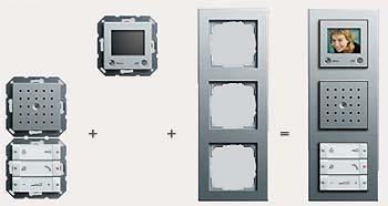 """Квартирная станция  с устройством громкоговорящей связи Gira с цветным жидкокристаллическим дисплеем, Gira E2,  цвет """"под алюминий""""."""