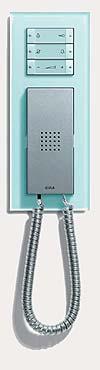 Квартирная станция  Komfort с телефонной трубкой и трехместной установочной рамкой, Gira Esprit, стекло.